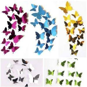 12Pcs 3D Mirror Butterfly Wall Art Decals-Blue